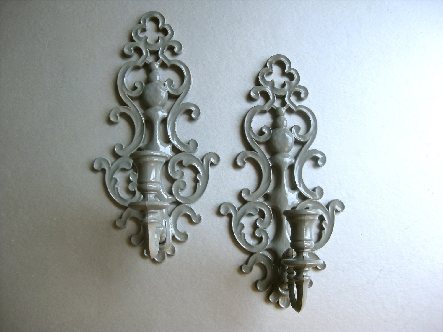 Vintage candle sconces gray sconce candle holders shabby - Decorative wall sconce ...
