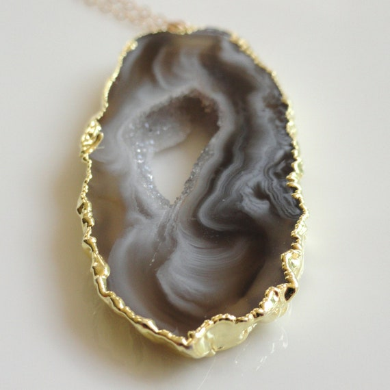 Magda   ...long 14K gold rimmed white taupe brown neutral druzy geode slice necklace.