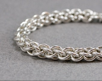 Sterling Chain Bracelet Jens Pind 14g sterling silver chainmaille spiral chain maille mail rope