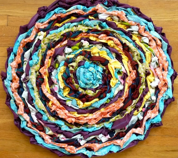 Country Crocheted Rag Rug - Multicolored - Upcycled Fabrics