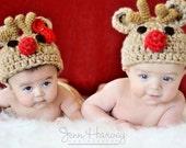 Christmas Reindeer Crochet hat - dkcu123