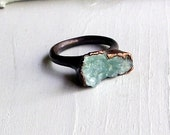 Copper Ring Aquamarine Ring Sky Blue Green Organic Raw Artisan Handmade