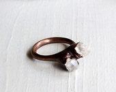 Copper Ring Raw Quartz Crystal Ice Natural Gem Stone Patina Artisan Handmade