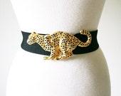 vintage DOTTY SMITH golden LEOPARD stretch belt
