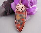 Poppy Jasper stone and copper wire pendant