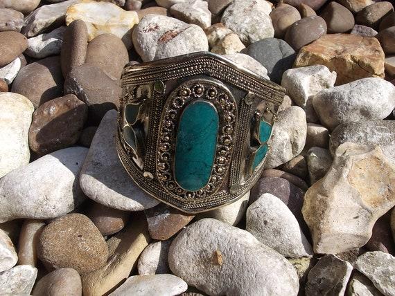 SALE: Afghan Tribal Jade Cuff Bracelet. Handmade.