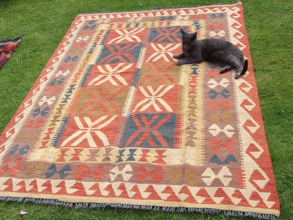 RESERVED for CHISA: Big Red/Yellow Chobi Kilim.  6.7 x 5 ft Tough Wool. Hand woven. Afghanistan.