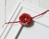 Red Rose Silk Flower Baby Girl Headband - Newborn Toddler Child Photo Prop