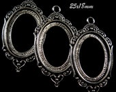 "25x18mm Antique Silver Setting - ""Enchantment I"" - 3pcs : sku 10.24.12.3 - R11"