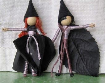 Halloween Fairy Dolls,  Witch, Wizard Black Rose ARt doll, Flower Fairy Doll