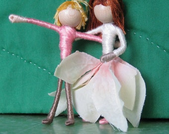 Sale - Christmas Fairy - Waldorf Flower Fairy Doll - Ivory and Pink Flower Fairy - Poinsettia