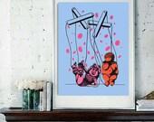Digital Print of Original Blue and Pink Polka Dot Silkscreen Print - Miss Piggy Meets The Venus of Willendorf,
