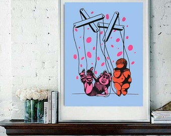 Digital Print of Original Blue and Pink Polka Dot Silkscreen Print - Miss Piggy Meets The Venus of Willendorf,
