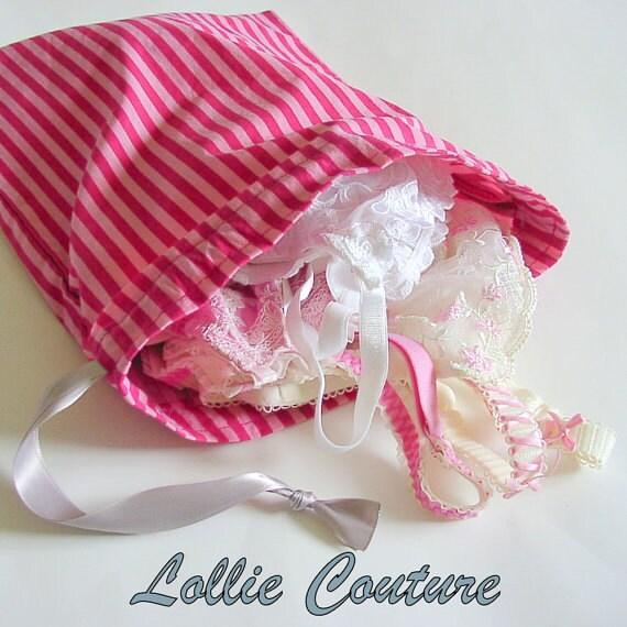 Lingerie Bag - Bridesmaid sets - Pink and hot pink - Travel Lingerie Bag  - Honeymoon - bridal shower gift