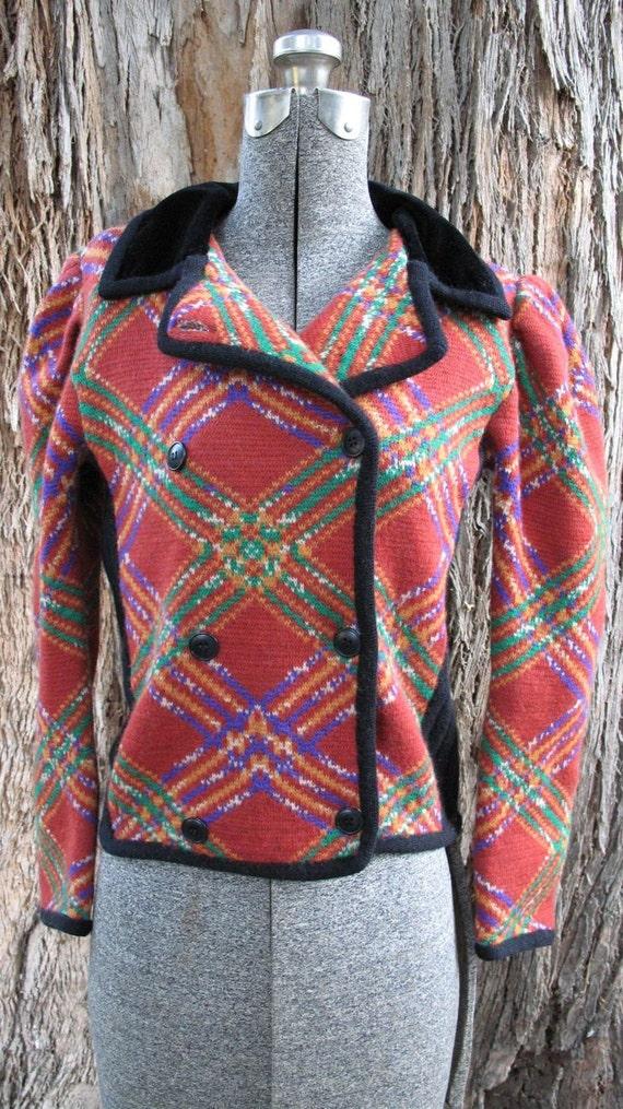 50% Off SALE-Vintage 1980's Plaid Wool French Sweater Jacket Blazer