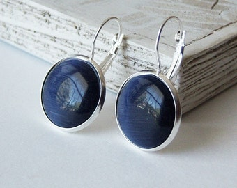 Navy Blue Earrings, Bright Sterling Silver Plated Brass, 18mm Cat Eye Cabochons/Last Pair/
