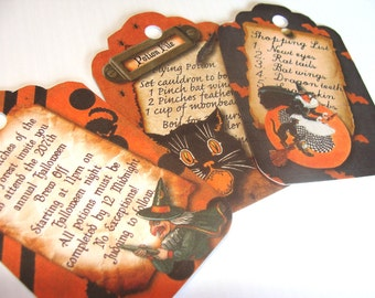 Halloween Tags - Set of 6 - Halloween Whimsy - Witch List - Halloween Ball - Fun Halloween - Black And Orange - Treat Bag Topper -Thank Yous