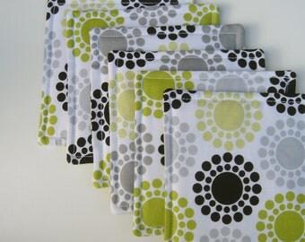 Fabric Coasters Bright Green Black Gray Modern Circles