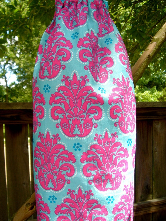 Plastic Grocery Bag Holder Pink and Blue Damask Style Pattern