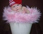 Crocheted Red/White stripes Hat with Red flower