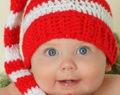 Crocheted Christmas stripes  Stocking cap/Hat   newborn to 3 Month   Ready to ship