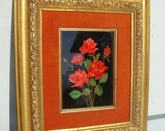 Vintage 40s Framed Orange and Gold Foil Art Roses