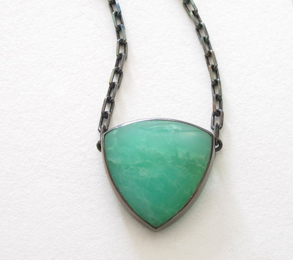 Chrysoprase Geometric Green Triangle Handmade Necklace Sterling