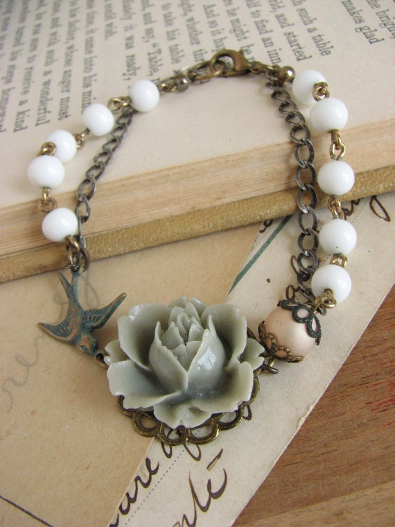 Romantic Shabby Chic Gray Rose Bracelet -sweet simple assembalge bracelet-