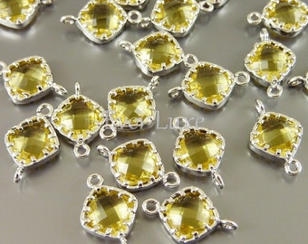 4 Small topaz gold yellow diamond shape faceted glass connectors for earrings bracelet necklaces  5061R-TO (bright silver, topaz, 4 pieces)
