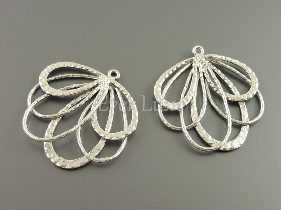 1239-MR (BULK 6 pcs) Matte rhodium plated feather fan pendants