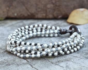 Dark Tone Knot Silver Bracelet