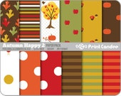 Autumn Happy 2 Paper Pack (12 Sheets) - Personal and Commercial Use - green red orange dots fall stripes