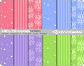 Little Princesses Paper Pack (12 Sheets) -  Personal and Commercial Use - blue pink purple green stars brocade