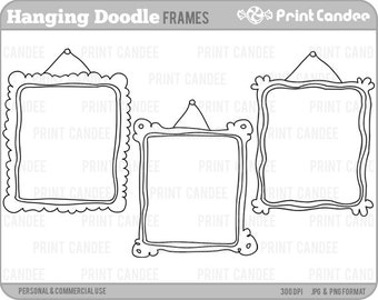 Hanging Doodle Frames -  Personal and Commercial Use - digital clipart frames clip art