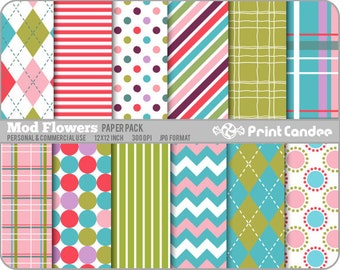 Mod Flowers Paper Pack (12 Sheets) -  Personal and Commercial Use - polka dot argyle stripe plaid