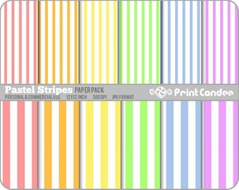 Pastel Stripes Paper Pack (12 Sheets) - Personal and Commercial Use - rainbow white lines colorful