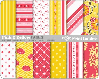 Pink & Yellow Paper Pack (12 Sheets) -  Personal and Commercial Use 12 x 12 sheets Digital Collage Background Sheet