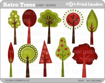 Retro Trees - Digital Clip Art - Personal and Commercial Use