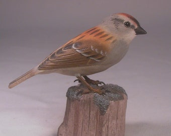 Chipping Sparrow Original Hand Carved Bird