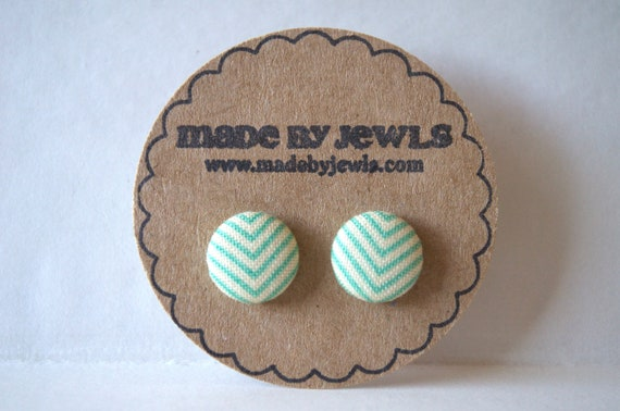 Mint Julep Fabric Covered Button Earrings