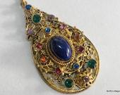 Czech Rhinestone Filigree Pendant Necklace Lapis Glass