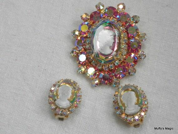 Juliana Cameo Brooch Earrings Pink AB Rhinestones