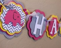 Elephant Hot Pink, Bright Yellow, and Gray Chevron Stripe Polka Dot Happy Birthday Banner Girl Baby Shower Party Decorations