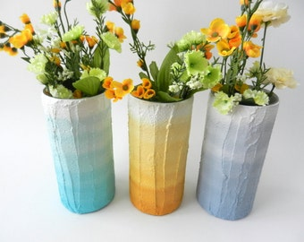 Custom set of 3 ombre vases / Trio of Vases / Instant collection / aqua vase / blue grey vase / gold vase / beach casual decor