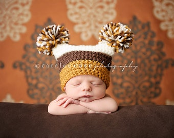 Pom Pom Hat in Brown, Orange, and Cream
