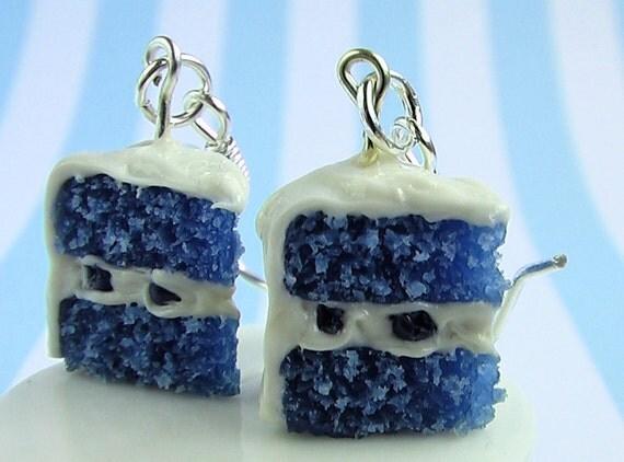 Cake Earrings - Blue Velvet Cake Earrings 30% OFF