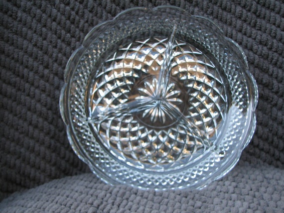 VINTAGE Divided Glass Dish - Relish Plate - Antipasto - Weddings - Shower - HOLIDAYS - Tableservice