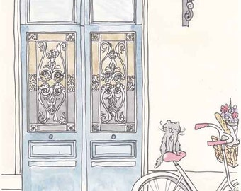 Paris Tour de Kitty Illustration - Inky Blue Doors and Cycling Kitty Cat art giclee print