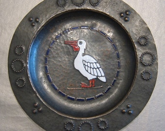 signed vintage hammered copper enameled plate PELICAN arts & crafts era