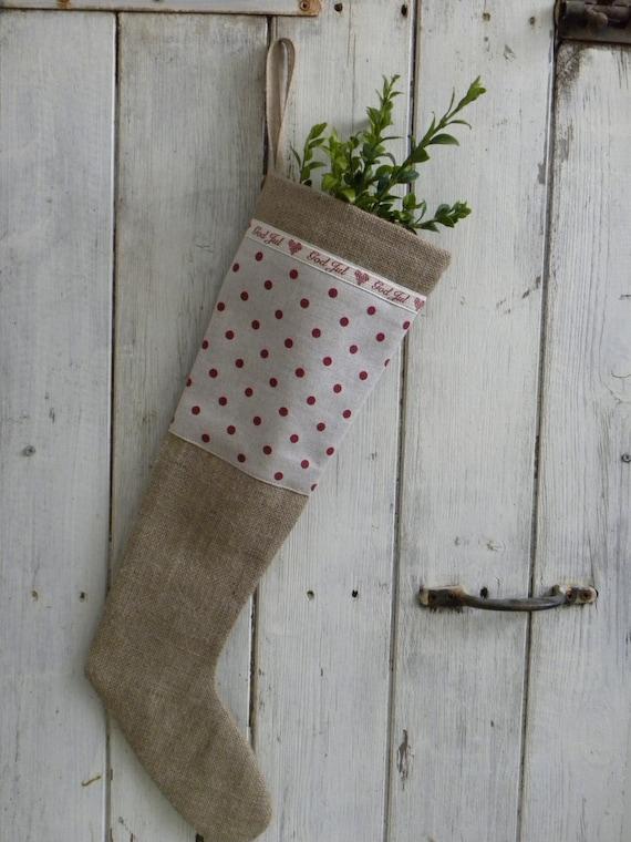 Scandinavian style burlap Christmas stocking OOAK